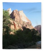 Angels Landing And Virgin River - Zion Np Fleece Blanket
