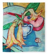 Angel's Trumpet Flowers And A Ukulele Fleece Blanket