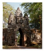 Angkor Thom North Gate 02 Fleece Blanket