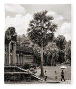 Angkor Wat Bw II Fleece Blanket