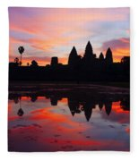 Angkor Wat Sunrise Fleece Blanket