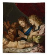 Angles Adoring The Sleeping Christ Fleece Blanket