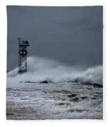 Angry Ocean In Ocean City Fleece Blanket