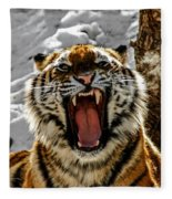 Angry Tiger Fleece Blanket