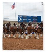 Anheuser Busch Clydesdales Pulling A Beer Wagon Usa Rodeo Fleece Blanket