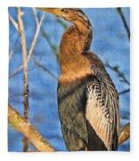 Anhinga At The Pond Fleece Blanket