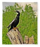 Anhinga Bird On Stump Fleece Blanket