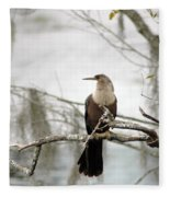 Anhinga On A Misty Morning Fleece Blanket