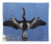 Anhinga  Sunbathing Fleece Blanket