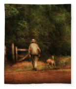 Animal - Dog - A Man And His Best Friend Fleece Blanket