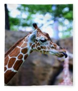 Animal - Giraffe - Sticking Out The Tounge Fleece Blanket