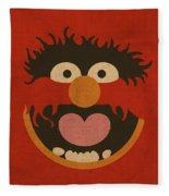 Animal Muppet Vintage Minimalistic Illustration On Worn Distressed Canvas Series No 008 Fleece Blanket