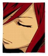 Anime Girl Red Fleece Blanket