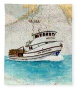 Ann Kathleen Crab Fishing Boat Nautical Chart Map Art Fleece Blanket