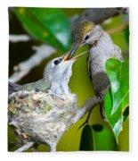 Annas Hummingbirds At Nest Fleece Blanket