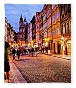 Another Prague Night - Czech Republic Fleece Blanket