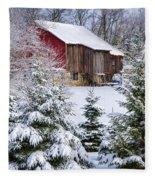 Another Wintry Barn Fleece Blanket