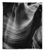 Antelope Canyon Waves Black And White Fleece Blanket
