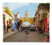 Antigua Guatemala Clock Fleece Blanket