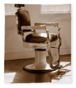 Antiquated Barber Chair In Sepia Fleece Blanket