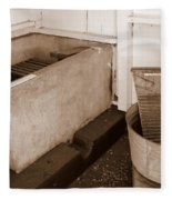 Antiquated Bathtub Washboard And Laundry Tub In Sepia Fleece Blanket