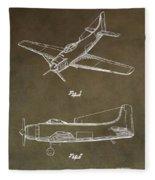 Antique Airplane Patent Fleece Blanket