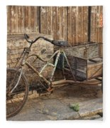 Antique Bicycle In The Town Of Daxu Fleece Blanket