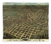 Antique Bird's-eye View Map Of Atlanta 1871 Fleece Blanket