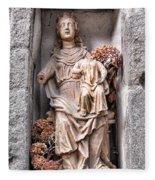 Antique Blessed Virgin Statue Fleece Blanket