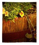 Antique Bucket With Yellow Flowers Fleece Blanket