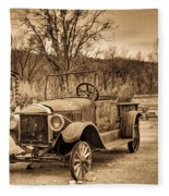 Antique Car At Service Station In Sepia Fleece Blanket