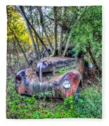 Antique Car With Trees In Windshield Fleece Blanket