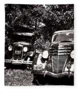 Antique Cars Black And White Fleece Blanket