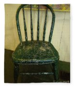 Antique Child's Chair With Quilt Fleece Blanket
