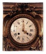 Antique Clock In Sepia Fleece Blanket