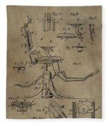Antique Dental Chair Patent Fleece Blanket