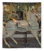 Antique Dentzel Menagerie Carousel Horse Colored Pencil Effect Fleece Blanket
