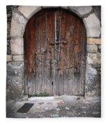 Antique Door Wood Fleece Blanket