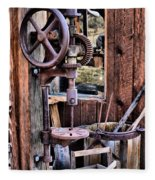 Antique Drill Press Fleece Blanket