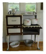 Antique Estate Stove With Cookware Fleece Blanket
