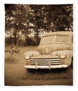 Antique Ford Car Sepia 2 Fleece Blanket