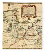 Antique French Map Of The Great Lakes 1755 Fleece Blanket
