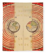 Antique Illustrative Map Of The Ptolemaic Geocentric Model Of The Universe 1568 Fleece Blanket