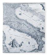 Antique Italy Map 1573 Fleece Blanket