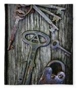 Antique Keys And Padlock Fleece Blanket