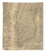 Antique Manhattan Map Fleece Blanket