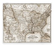 Antique Map 1853 United States Of America Fleece Blanket