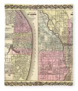 Antique Map Of Chicago And St Louis 1855 Fleece Blanket
