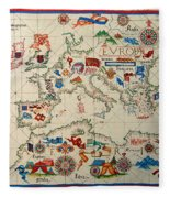 Antique Map Of Europa 1563 Fleece Blanket