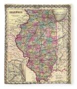 Antique Map Of Illinois 1855 Fleece Blanket